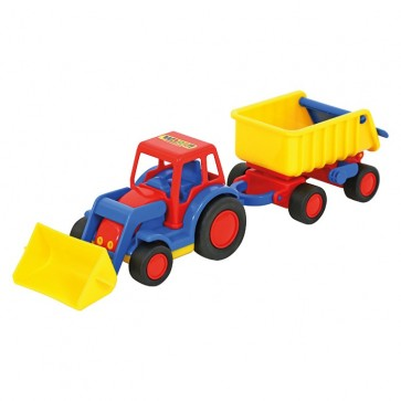 Basic Tractor With Shovel And Trailer