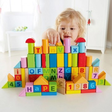 Hape Beech Wood Blocks in Colour Box 80 Pieces