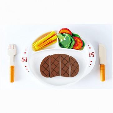 hape steak salad wooden toy