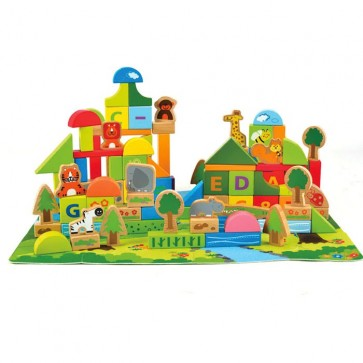 Hape Jungle Block Play Set Beech Wood Blocks