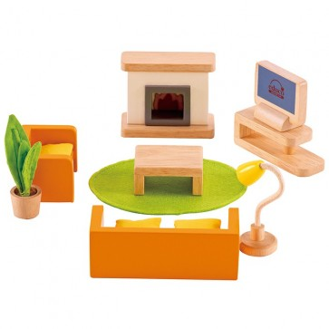 hape doll house media room wooden toy