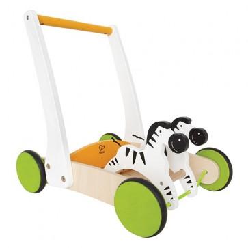 hape zebra cart push toy