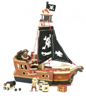 pirate ship wooden toy vilac