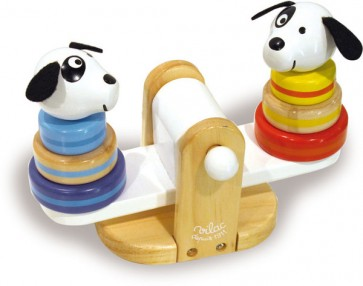 vilac sea saw stacking dog wooden toy
