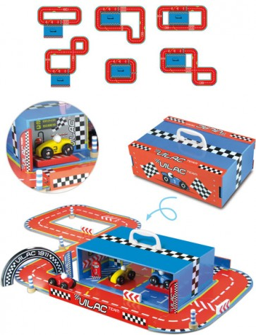 wooden toy racing track vilac