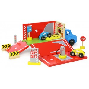car garage wooden portable toy