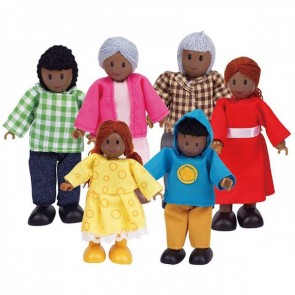 Hape African Family Set of 6 dolls figure
