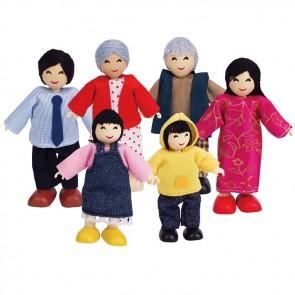 Hape Asian Family Set of 6 doll figure