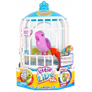 Little Live Pets Talking Birds Tweet purple In Cage