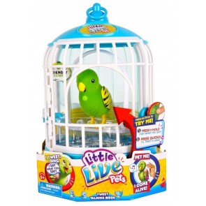 Little Live Pets Talking Birds Tweet Green In Cage