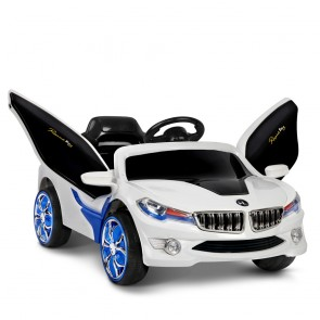 Kids Ride on Car white Gullwing Doors