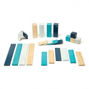 Tegu Magnetic Wooden Blocks Tegu Blues 24 Pieces-A