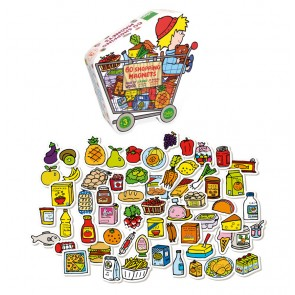 Grocery shopping item Magnets wooden Set