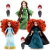 Disney Brave 6 Pc Mini Doll Princess Merida , Queen Elinor , Triplet Brothers Harris  Hubert  and Hamish