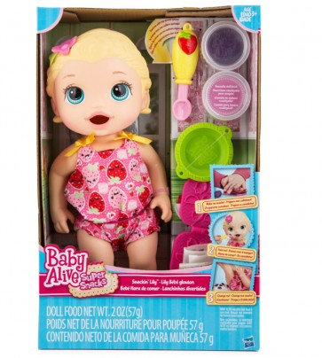 Baby Alive Snacking Lily Doll White Blonde