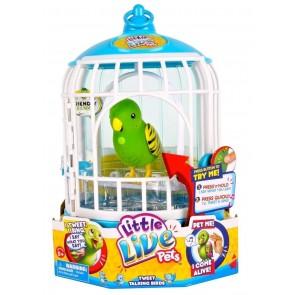 Little Live Pets Talking Birds Tweet Green In Cage