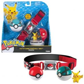 Pokemon Clip n Carry Poke Ball Cross Belt with 2 Poke Balls & Pikachu Figure